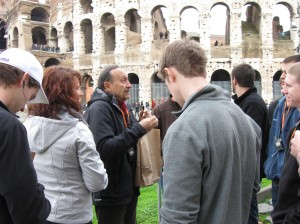 Gino telling us about the Colosseum