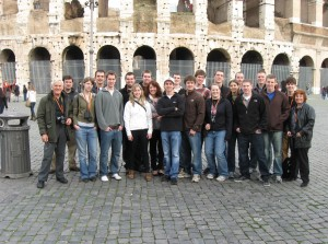 The group out in front of the Colosseum