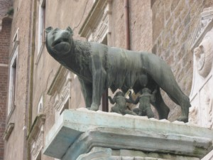 The she wolf with Romulus and Remus - the twin founders or Rome