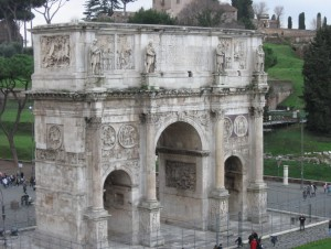 Arch of Constantine from the second level of the Colosseum