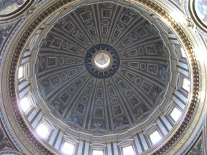 The dome at St Peter's Basilica from the inside