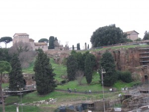 Palatine Hill from the second level of the Colosseum