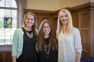 Graduate students Andrea Dennis, Victoria Pyron Tankersley, and Pearl Nielsen