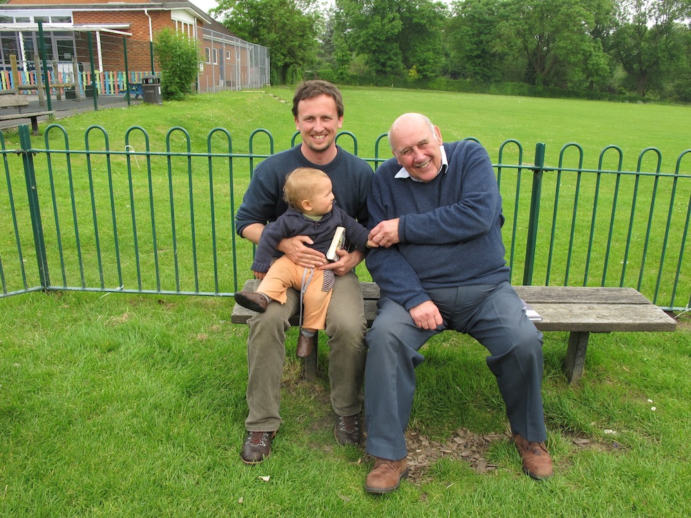 Adam Burchard and his son Lewis with Peter Webstser, member of The George Herbert in Bemerton Group.