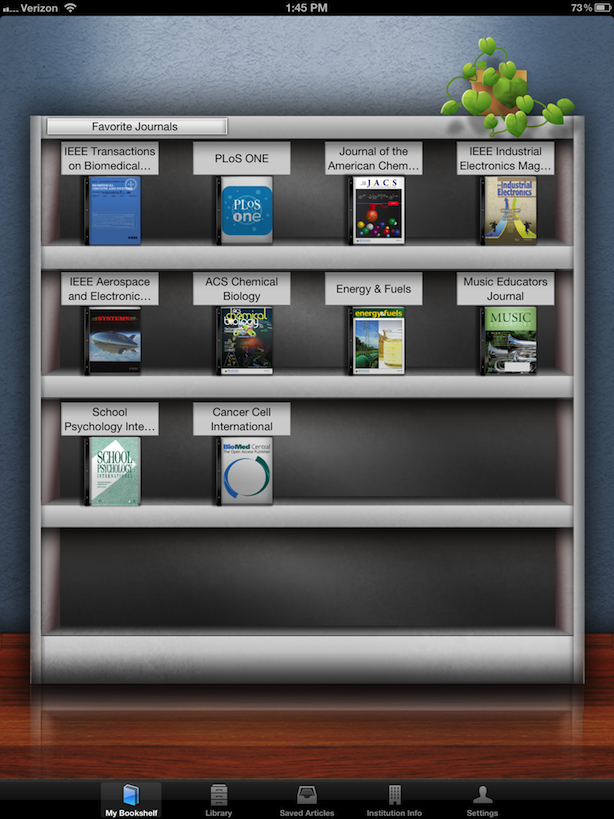 My Bookshelf Browzine Ipad App Screenshot