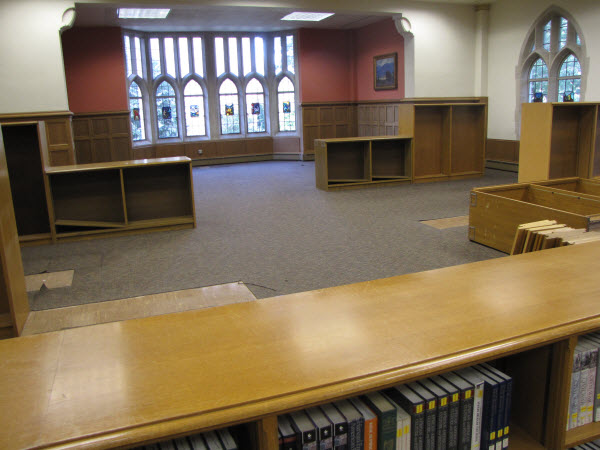 The north end of the reference room being prepped for installation of the Media Resources Collection.
