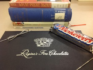 Grand Prize for Ireland Library's Theological Libraries Month Book Spine Poetry Contest:  a box of Queen Regina's chocolates.
