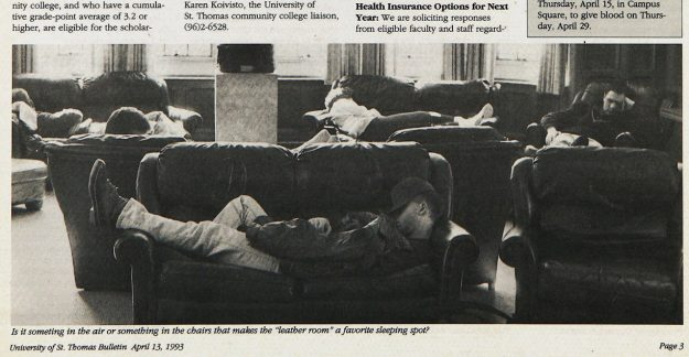 Photo from a 1993 St. Thomas Bulletin showing students napping in the O'Shaughnessy Room.