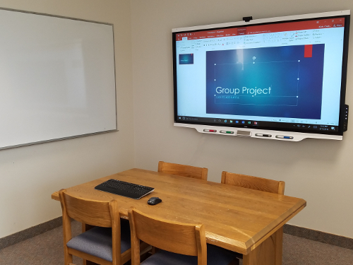 Group study 321 in OSF featuring a SMART Board