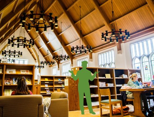 Outline of a person standing in the Great Room of the O'Shaughnessy-Frey Library among students studying
