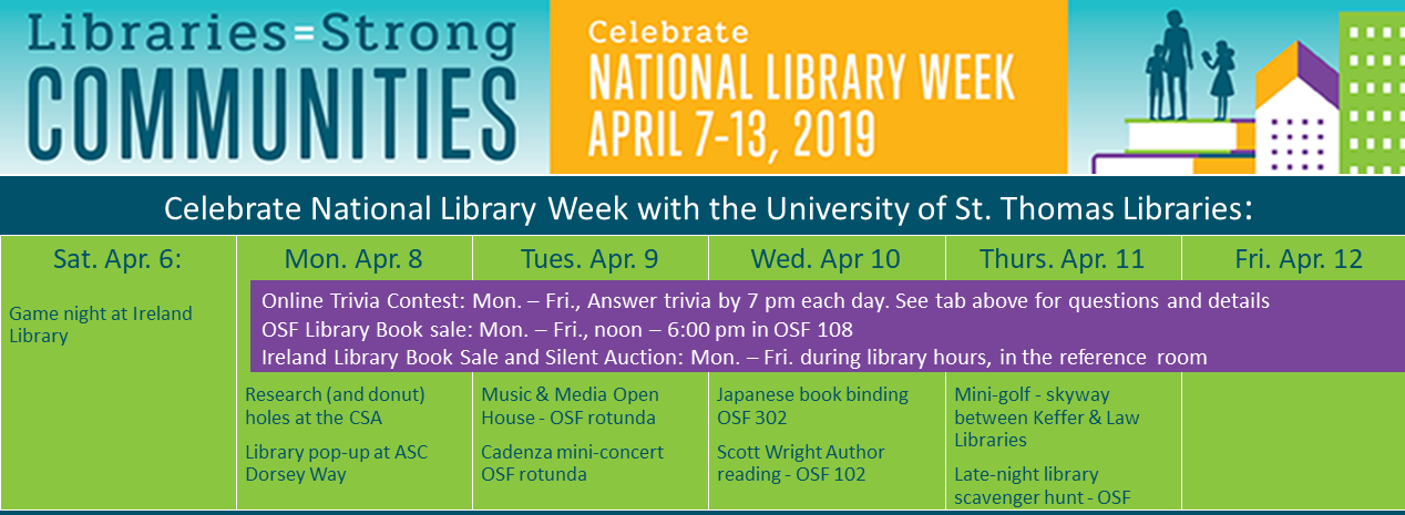 National Library Week poster with events listed for each day