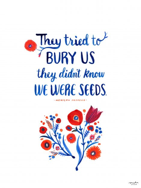 "illustration of flowers in red and orange with the text ""They tried to bury us they didn't know we were seeds"""