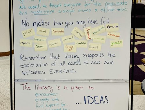 photo of the whiteboard in the library. Full text is in the accompanying post