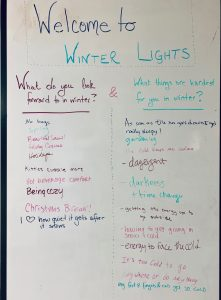 """photo of a whiteboard with answers to the questions """"What do you look forward to in winter?"""" and """"What things are the hardest for you in winter?"""""""