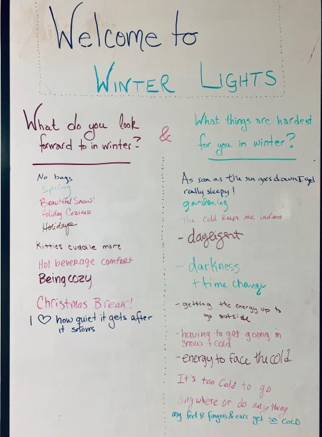 "photo of a whiteboard with answers to the questions ""What do you look forward to in winter?"" and ""What things are the hardest for you in winter?"""