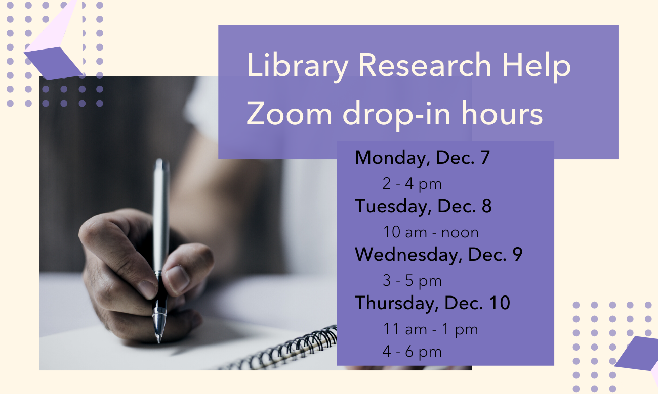 Library Research Help Zoom drop-in hours