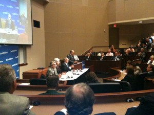 Mr. Tom Horner (I), left; Representative Tom Emmer (R), center; and former Senator Mark Dayton (D) are introduced by Dean Christopher Puto