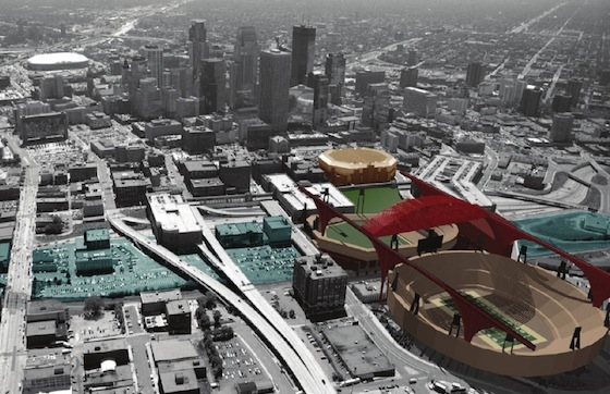 Proposed Stadium at the Farmers Market Site, courtesy of Bruce Lambrecht