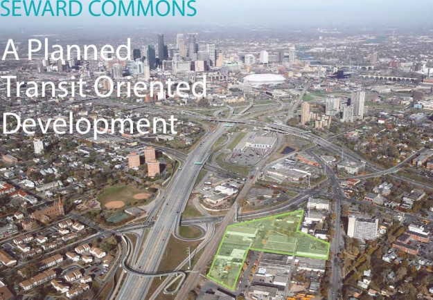An aerial view of the Seward Commons site (Source: Redesign)
