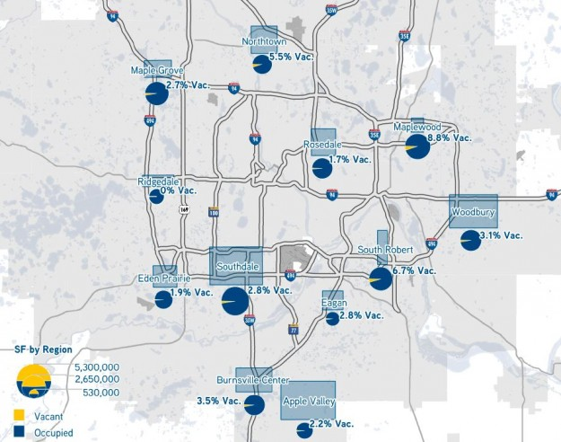 Minneapolis - St. Paul Retail Trade Area Vacancy (1st Quarter 2014, source: Colliers)