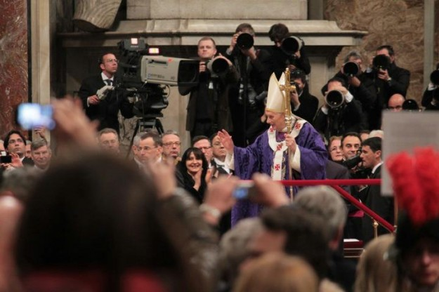 "Saying ""Arrivederci"" at his last public Mass on Ash Wednesday. (Photo credit: Brandon Miranda)"