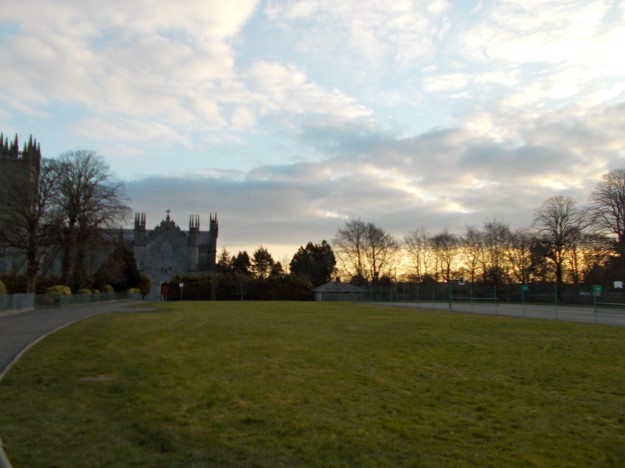 """The Cathedral of Tuam (pronounced """"Chume"""") in the morning.  We stayed in Tuam which is on the west side of Ireland, close to the coast."""