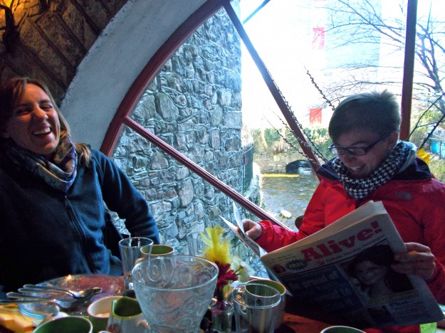 Galway City: Some good giggles at the Bridge Mills Restaurant, an adorable place with a running water wheel inside and delicious food.