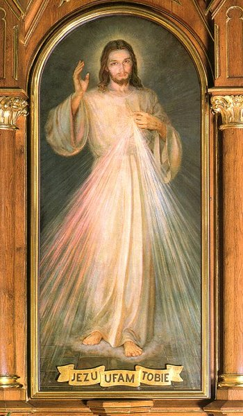 """""""Jesus, I trust in You.""""  The original Divine Mercy image that Sr. Faustina received from Christ.  I never noticed before kneeling in front of it how He looks like He's been up all night, waiting for us."""