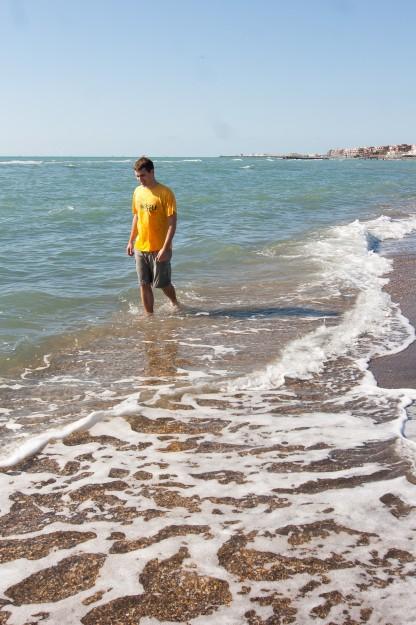 Our resident geologist, Andrew Dieter, scours the shore for interesting rocks.