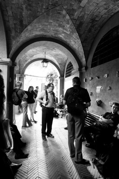 Students wait outside the catacombs for a tour by our professor, Art Historian Elizabeth Lev.