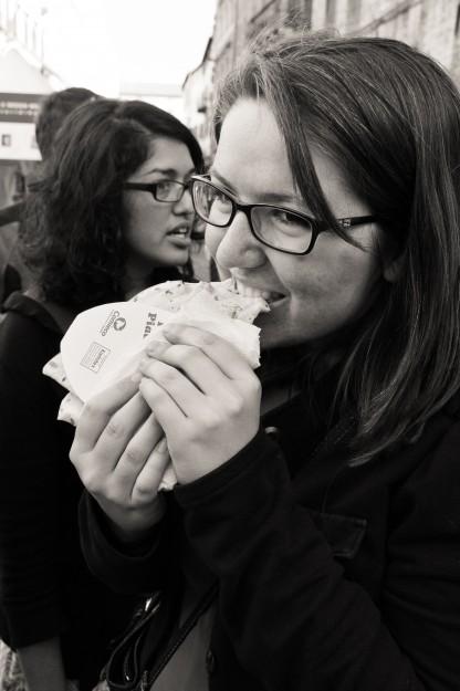 Lizzy enjoying her nutella crepe
