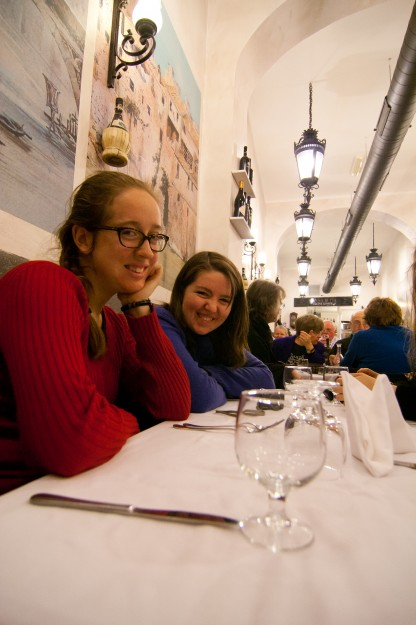 Mary Conway and Elizabeth Heaney at a Jewish restaurant where we had dinner to celebrate the beginning of Hanukkah.