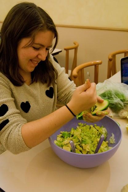 Elizabeth Heaney works on some guacamole.