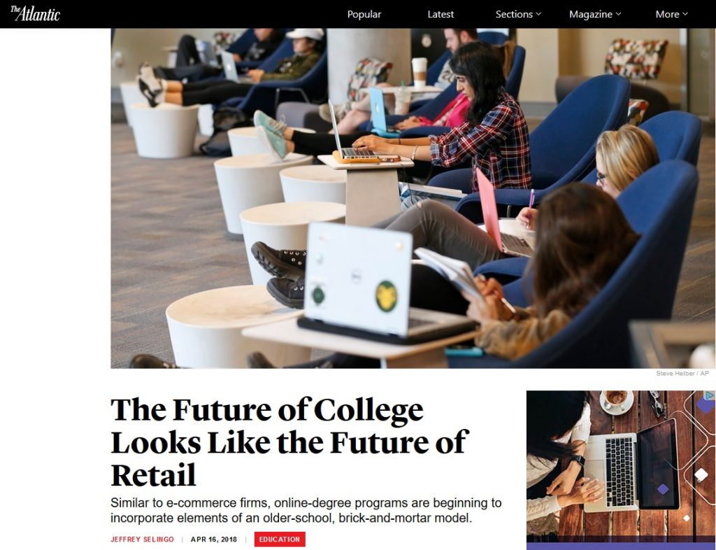 Photo of students sitting in comfy chairs working on laptops with the title, The Future of College Looks Like the Future of Retail
