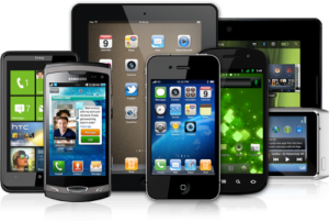 Variety of mobile devices and tablets