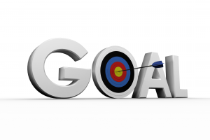 """The word goal with an arrow hitting a target in the """"0"""""""