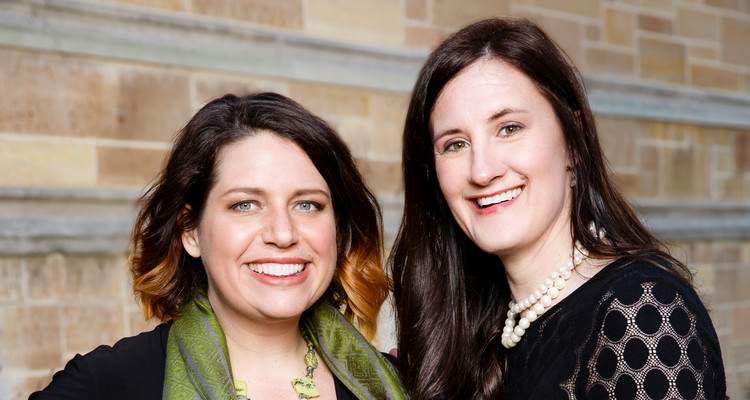 Psychology Professor Roxanne Prichard, left, and Birdie Cunningham, right, of the Wellness Center, pose for a portrait in front of Aquinas Hall on April 14, 2016 in St. Paul. The two developed a sleep study for the Sleep Center in the Wellness Center.