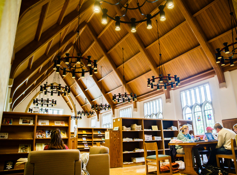 """Students study together May 18, 2015 in the O'Shaughnessy-Frey Library great room during the finals week """"study Monday."""""""