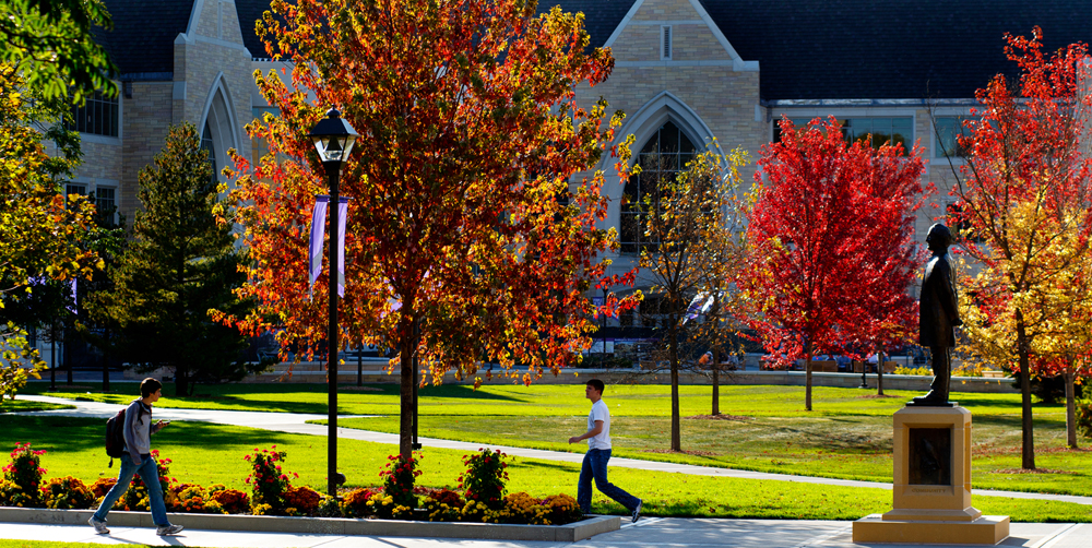 Students walk along the lower quad through trees covered in brilliant autumn color October 3, 2011. The statue of John Ireland is at right.