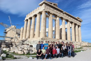 A group shot of us in front of the Parthenon